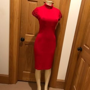 Caché 6 red mock turtleneck dress ruffle sleeves